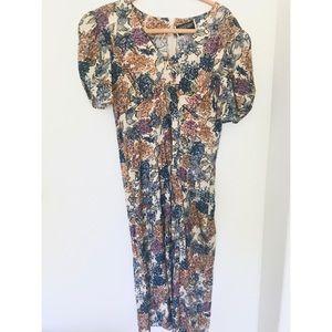 Vintage Floral Puffed Sleeve Midi Dress